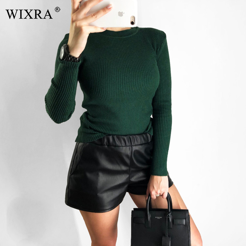Wixra Autumn Winter Fashion Women's Sweaters And Pullovers All Match Basic Round-Neck Knitted Sweaters Knit Hot Jumpers Tops
