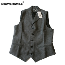 SHOWERSMILE England Style Woolen Blends Tweed Waistcoat Autumn Winter Mens Clothing Lapel Design Grey Herringbone Suit Vest(China)
