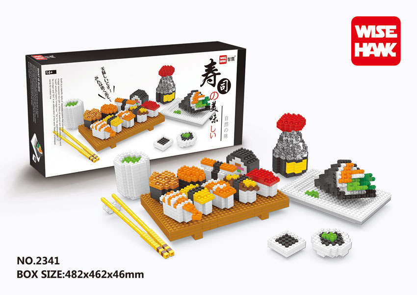 все цены на WiseHawk Hot Selling Delicious Japanese Sushi Food Nano Blocks Kids Toys 3D Assembly Plastic Model Construction Building Bricks