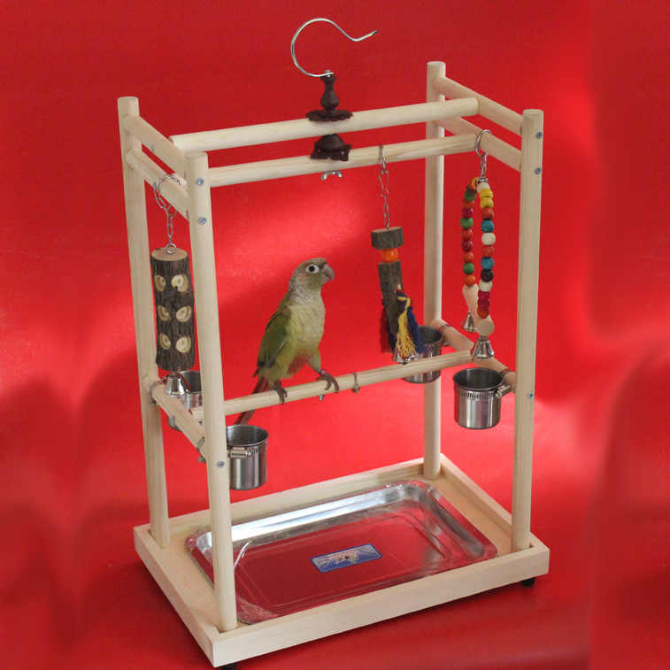 Wood Bird Playstand Parrots Training Stand Perch Gym Bird Toys With Stainless Steel Feeding Cups Bird Accessories Supplies HW042