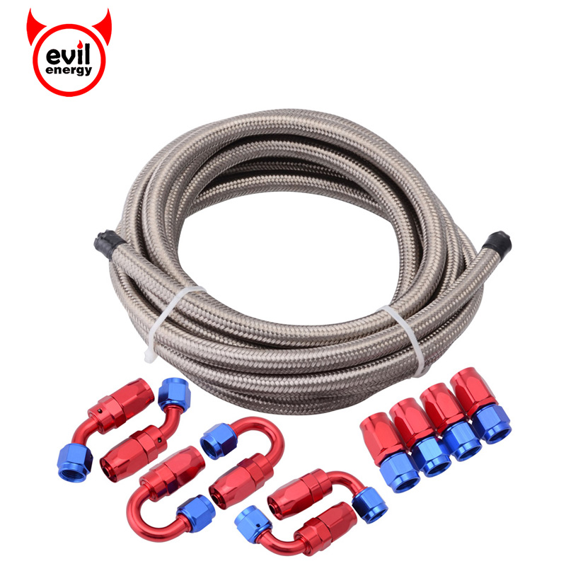 evil energy AN6 Double Stainless Steel Braided Oil Fuel Hose 5Meter AN6 Red And Blue Fittings