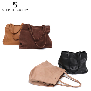 Image 5 - SC Fashion Women Genuine Leather Handbags Multi Sections Large Tote Bags Slouchy Cow Leather Hobo High Quality Big Shoulder Bags