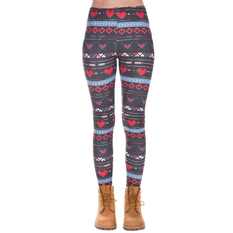 Fashion High Elasticity Snowflake Hearts Printed Women Slim Fit Legging Workout Trousers Casual Pants Leggings