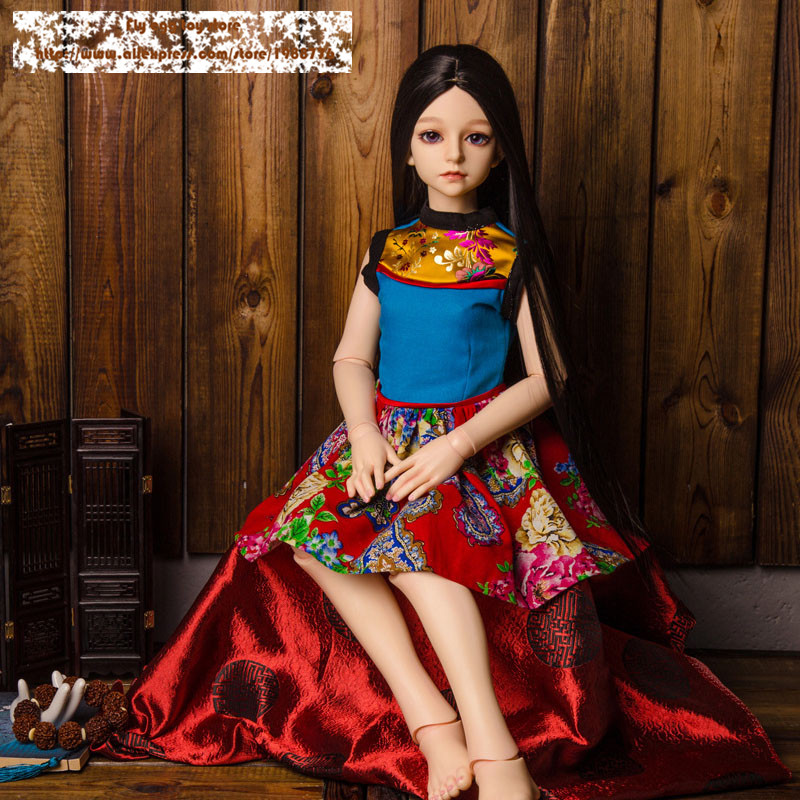 Doll clothes ethnic dress 1 3 female doll Ancient costume sd bjd clothes blue red yellow