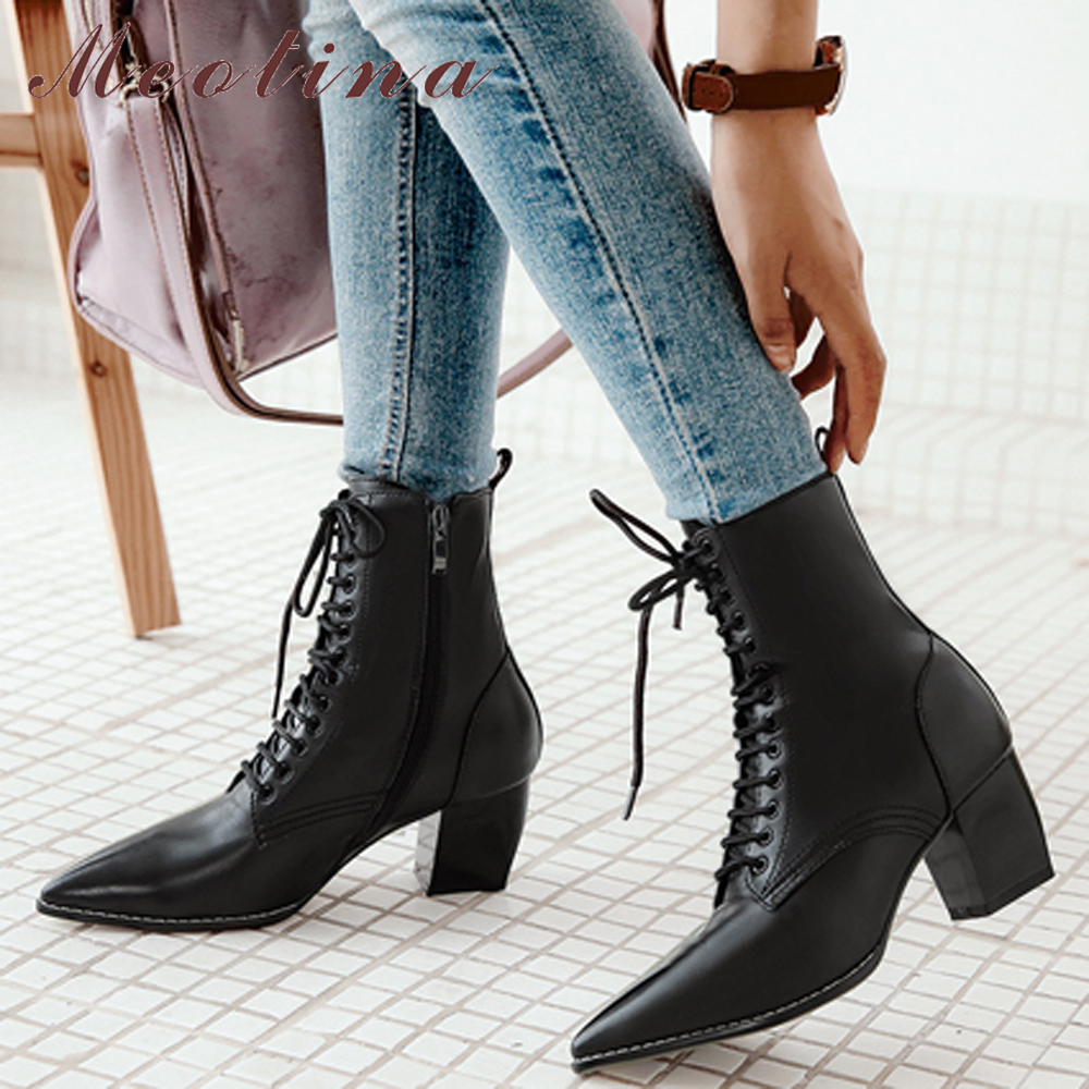 Meotina Boots Motorcycle-Boots Lace-Up Brown Pointed-Toe Zipper Winter Women Fashion