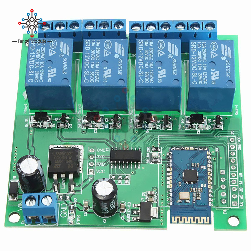 DC <font><b>12V</b></font> <font><b>4CH</b></font> Bluetooth <font><b>Relay</b></font> <font><b>Module</b></font> for Android Mobile Remote control Switch for Motor LED Light image