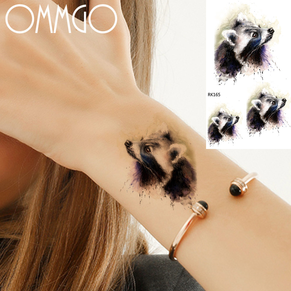 OMMGO Cute Raccoon Temporary Tattoo Sticker For Men Women Body Art Tatoo Arm Neck Body Art Water Transfer Fake DIY Tattoos Paper