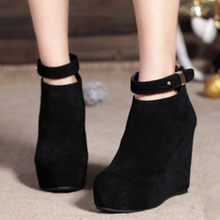 Black Suede Thick Crust Creepers Slope Heels Round Toe Belt Buckle Naked Boots For Women Discount Cheap Hot Sale Wedges Booties