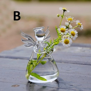 Clear Angel Shape Glass Hanging Vase Terrarium Hydroponic Pot Flower Home Decor Glass Terrarium Hydroponic Pot Angel Shaped Vase