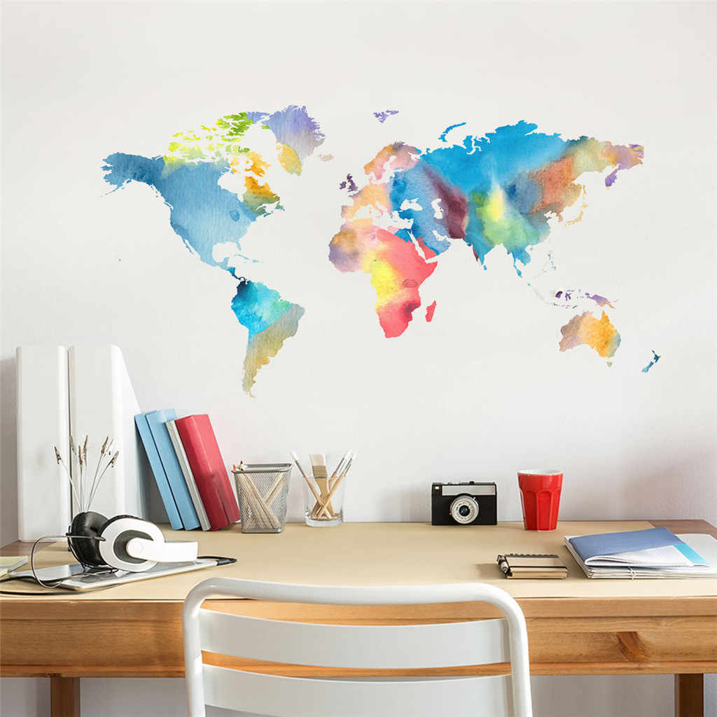 Wall Sticker  Mobile Creative Color World Map Affixed With Decorative Wall Window Decoration Home Decor Living Room May 8