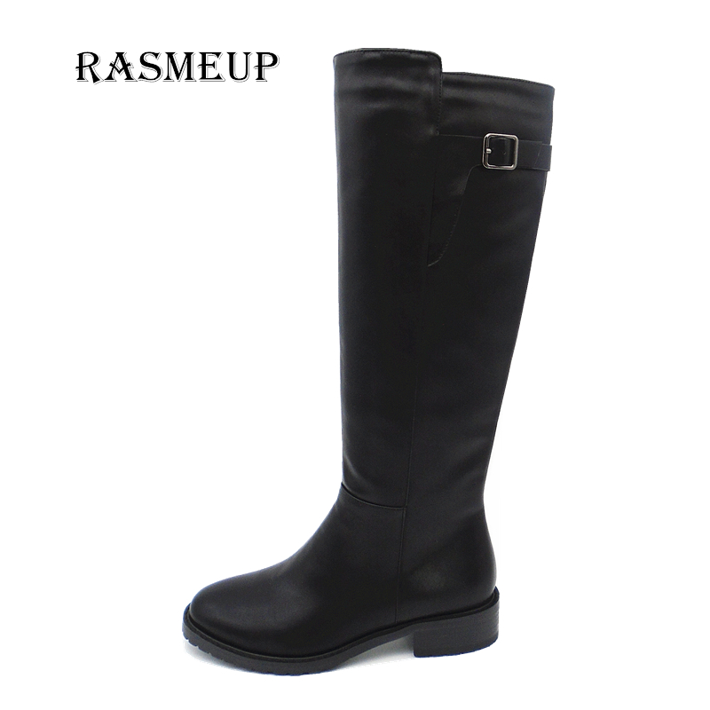 RASMEUP Clearance Women's Leather Knee High Boots Winter Women Fur Warm Long Snow Boots Fashion Zipper Woman Platform Shoes water valve n c dc 12v 0 0 8mpa 1 2 electric solenoid valve for water air new