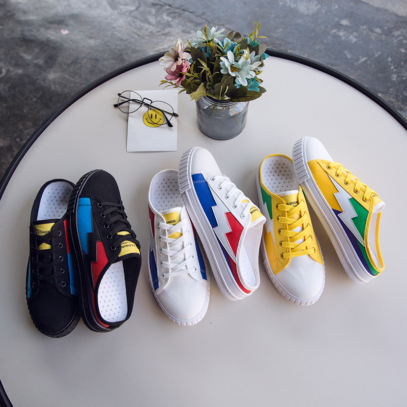 Summer canvas half slippers male Korean version of the trend shoes men 39 s England wild personality Baotou breathable lazy shoes in Men 39 s Casual Shoes from Shoes
