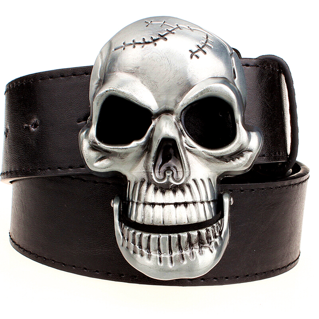 BIG SKULL MEN'S COW SKIN BELT (3 VARIAN)