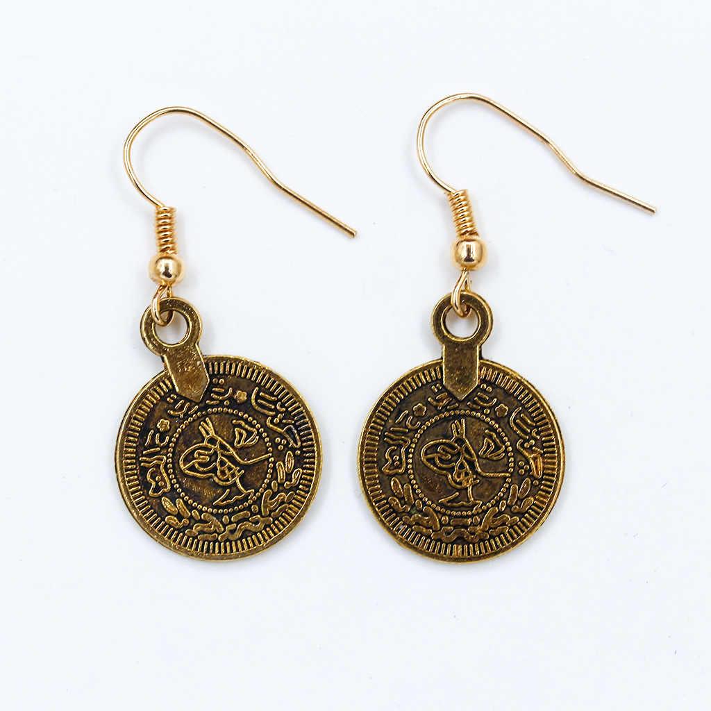 הודי מצרי אתני סגנון טרנדי וינטג לנשים עגול מטבע מתכת בוהמיה מצרים פקיסטני תכשיטי pusheen