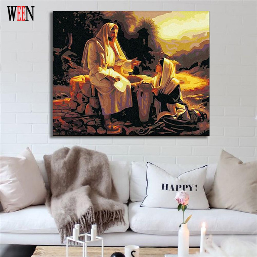 WEEN Jesus Savior Painting Pictures By Numbers On Canvas DIY Handpainted Figure Coloring By numbers Home Wall Artwork in Painting Calligraphy from Home Garden