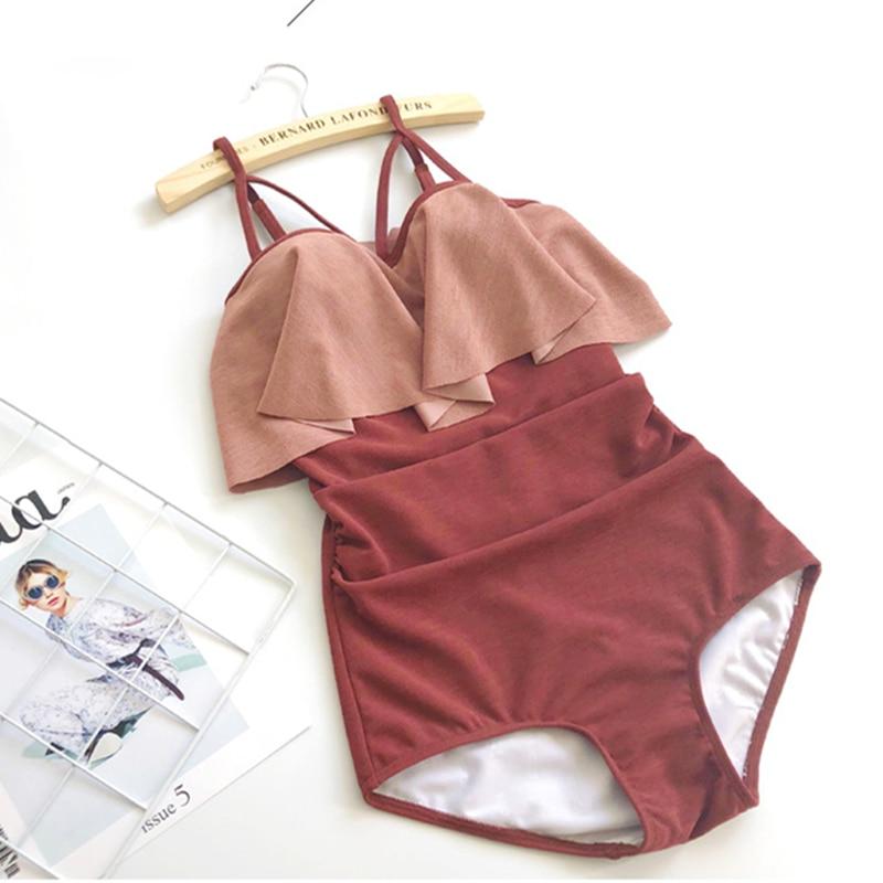 2018 sexy swimsuit For women swimwear One piece Halter bandage bath set clothes women's beach fato de banho trendy halter sleeveless solid color one piece swimwear for women
