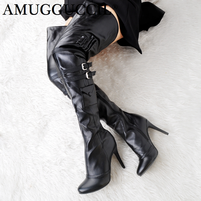 2018 New Plus Big Size 34-47 Black Zip Buckle Sexy Thigh High Heel Over The Knee Female Lady Women Autumn Winter Boot X1675 2018 new plus big size 32 46 black brown gray red lace up zip cut outs sexy female lady over the knee women summer boots x1633