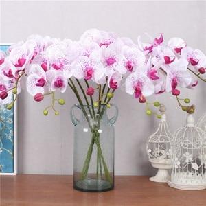 Image 5 - Orquídea de mariposa de poliuretano Real al tacto, flores artificiales para casa, decoración de fiestas de bodas, regalo de Navidad