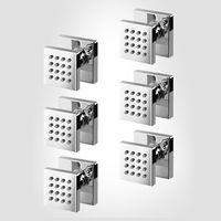 6 PCS BATHROOM SQUARE SOLID BRASS CHROME SHOWER HEAD 1/2 SPOUT MASSAGE SPA FAUCET BODY JETS Sprayer Nozzle 03 031
