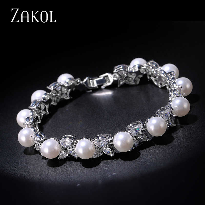 ZAKOL Trendy Marquise CZ Zirconia Imitation Pearl Leaf Bracelets & Bangles For Women Wedding Dress FSBP127