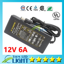 Universial AC/DC 12V 6A 72W Power Supply Charger Adapter For LED Strip Light led bar light Free Shipping