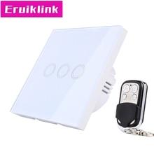 купить EU/UK Standard Wireless Remote Control Wall Switch, 3 Gang 1 Way White Glass Panel Linght Touch Switch for RF433 Smart Home по цене 1300.67 рублей