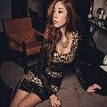 Женщины Сексуальная вырезом Кружева Клуб Мини Leopard Dress Бальное платье