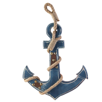 Distressed Finish Blue Nautical Anchor Wall Hanging Decor (Blue)