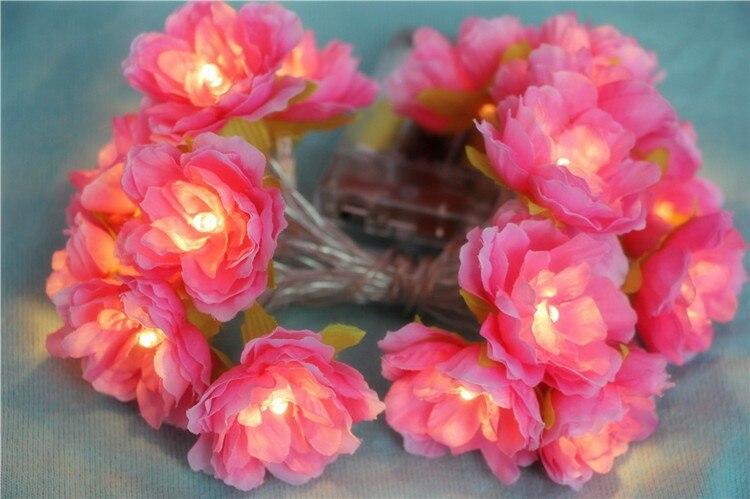 Novelty 2M / 3M hiasan buatan tangan Bunga Fairy String floral Lights - Pencahayaan perayaan - Foto 2