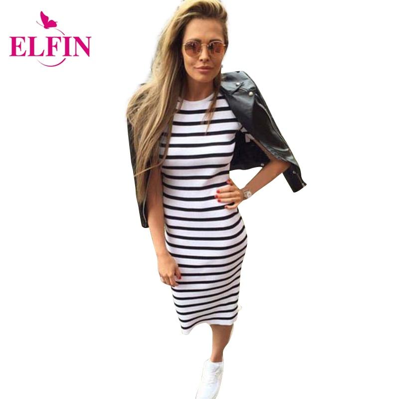 Summer dress women dress casual vestidos de tubo delgado cuello redondo a rayas
