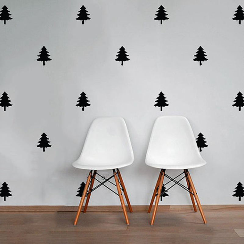 PEEL & STICK Pine Tree Patterned Wall Decal , DIY Black Tree school office nursery living room Modern Nordic style Decor ...