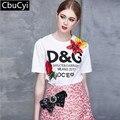 2017 Mulheres T-shirt Das Mulheres de Moda de Nova Top Tee Camisa de Lantejoulas Femmer Mulher pista branco letra Dos Desenhos Animados impressão Roupas (DG498)