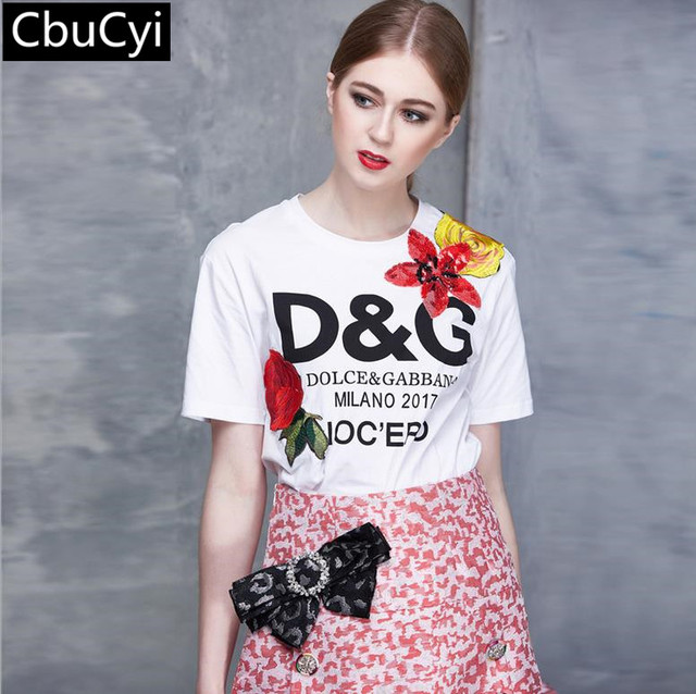 2017 Women T-shirt Women Fashion New Top Tee Sequined Shirt Femmer Woman white runway Cartoon letter printing Clothes(DG498)