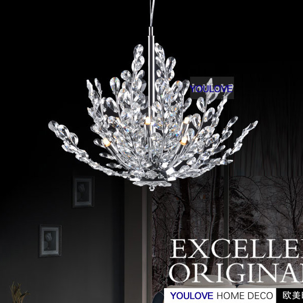 Modern Tree Branches Crystal Chandeliers Lights Fixture Crystal Droplights Home Indoor Foyer Dining Room Bed Room Hanging Lamps