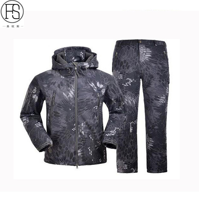 Outdoor Sport Softshell Jackets Or Pants Men Hiking Hunting Clothes TAD Camouflage Military Tactical Sets Camping Hunting Suits  2