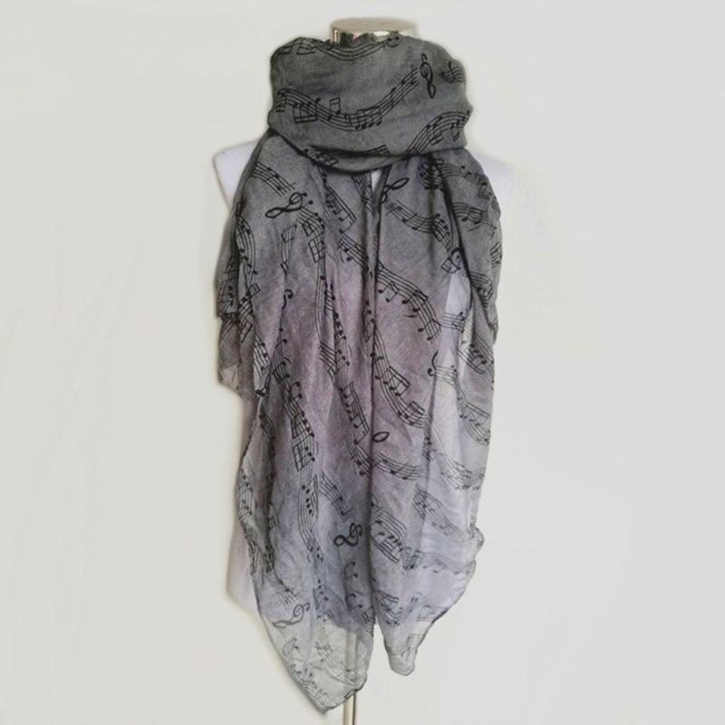 New Fashion Women Music Note Print Long   Scarf   Elegant   Scarves   Neck   Wrap   Stole Neckerchief High Quality lady   scarves