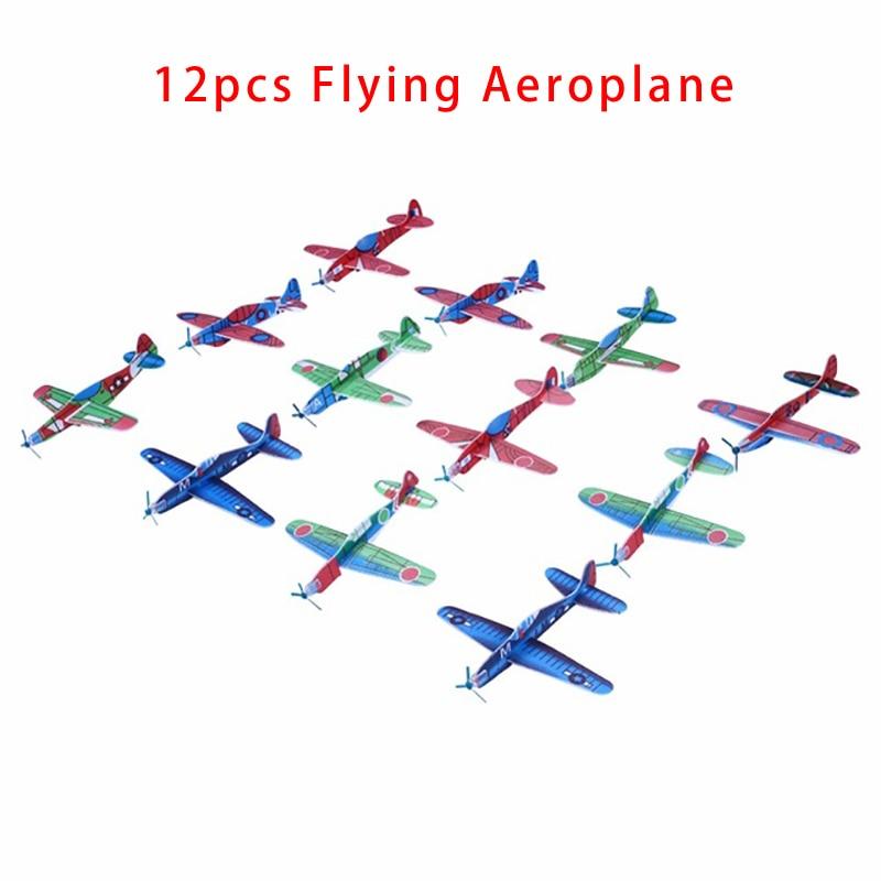 12 pièces avion en mousse modèle bricolage main jeter vol planeur avions sac de fête charges vol planeur avion jouets pour enfants enfants jeu (lot de 12)