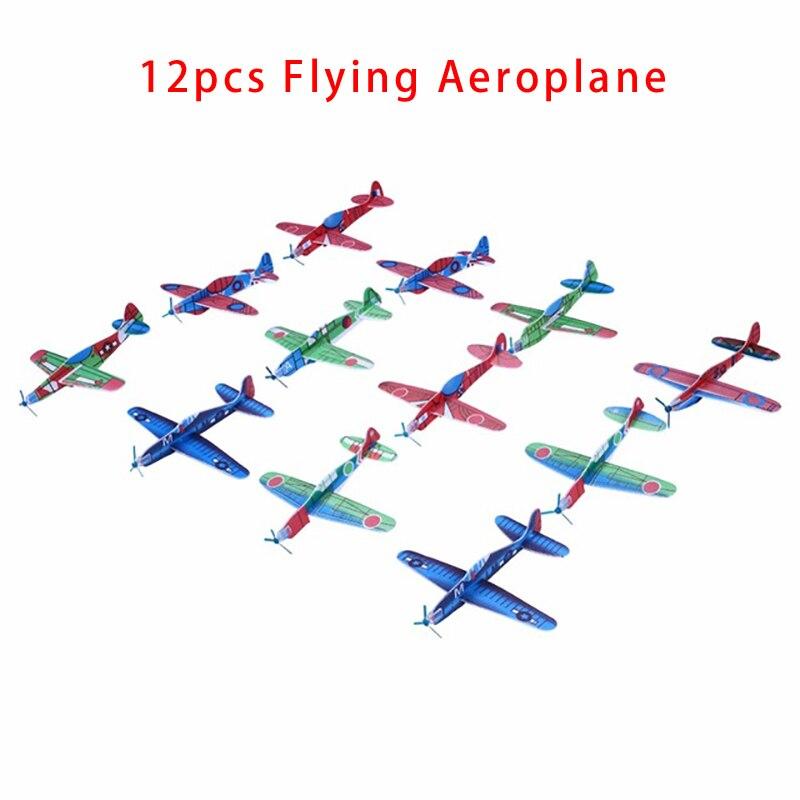 2017 12pcs Diy Hand Throw Flying Glider Planes Foam: 12Pcs Foam Aeroplane Model DIY Hand Throw Flying Glider