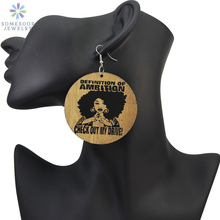 SOMESOOR 6cm Large African Carved Natural Wooden Drop Earrings Definition Of Ambition Afro Black Sayings Personalized Jewelry