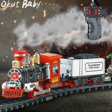 Новейший электрический динамический паровой Радиоуправляемый трек-поезд набор имитационная модель игрушки для детей перезаряжаемая детская игрушка на дистанционном управлении
