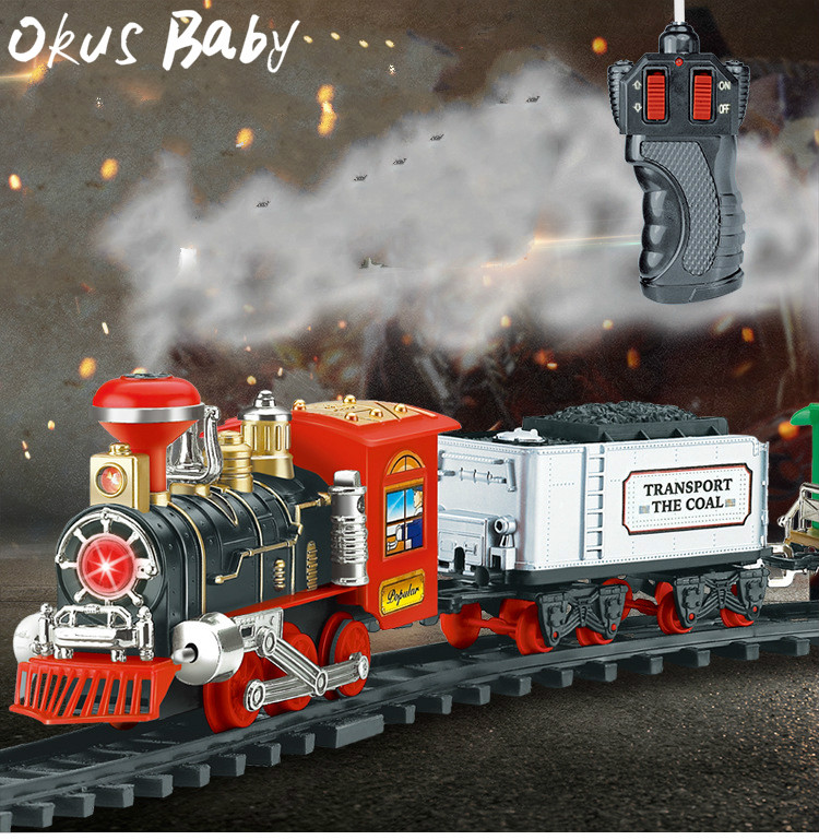 2019 Newest Electric Dynamic Steam RC Track Train Set Simulation Model Toy For Children Rechargeable Children Remote Control Toy