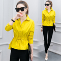 2017 Women Blouses Elegant Shirts Slim Turn-down Collar Long Sleeve Shirt Women Tops Solid Blouse Top Plus Size S-XXL
