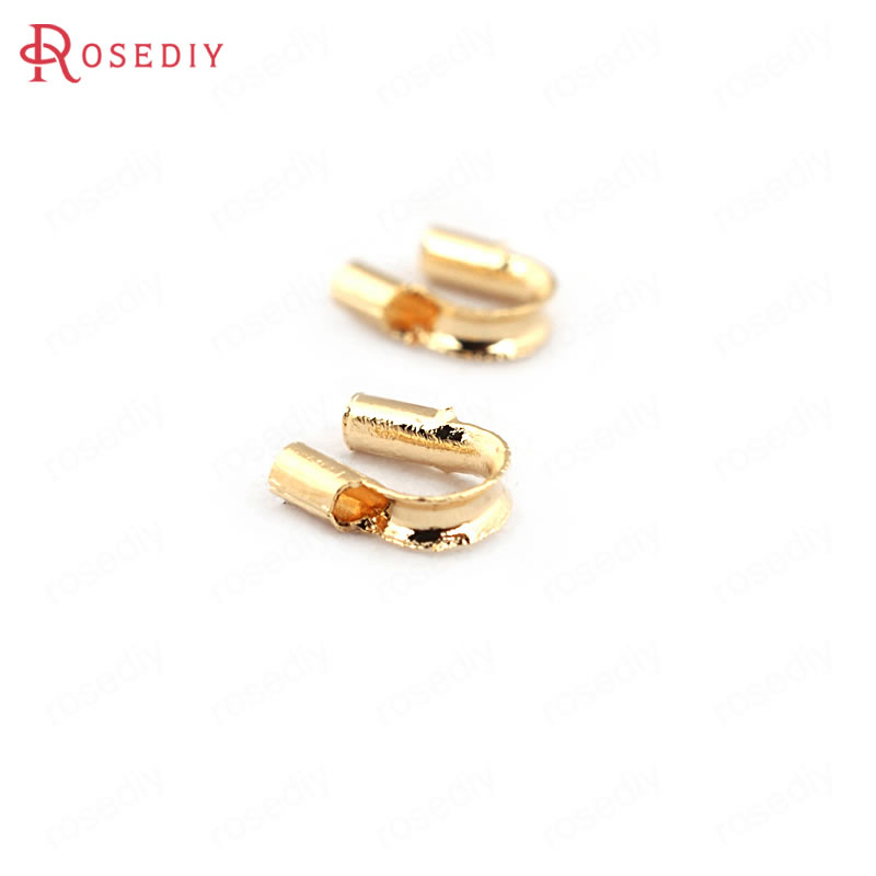 (33597-2)100PCS 5*4MM 24K Gold Color Brass Thread Protector Clasps High Quality Diy Jewelry Findings Accessories Wholesale
