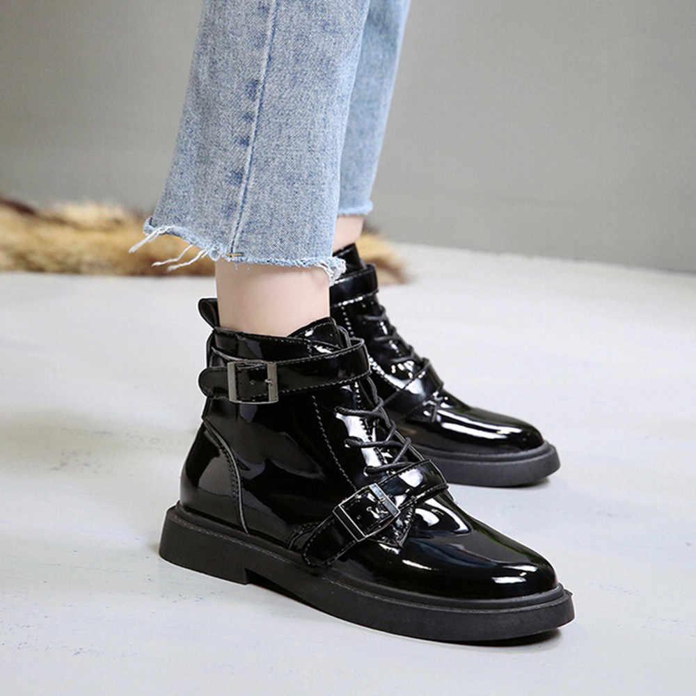 MUQGEW winter shoes 2018 Vintage Belt Buckles Women Boots Autumn Winter  Anti-Slip Middle Heel c4b4676e9f15