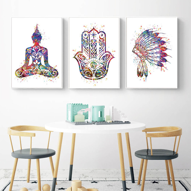 Watercolor buddha lotus wall art canvas posters and prints abstract painting wall pictures for living room