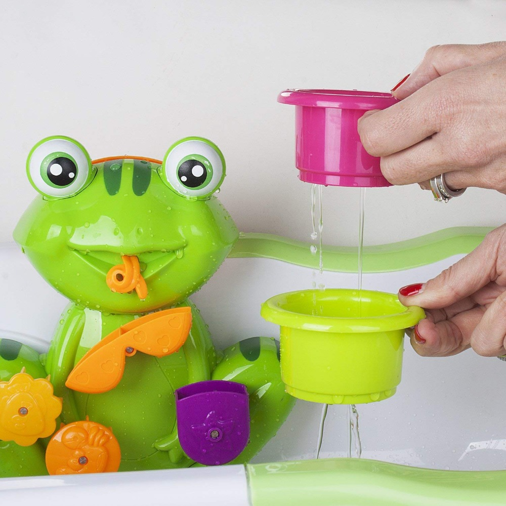 FUN Interactive Green Frog Bath Tub Fun Toy With 4 Stacking Cups  Non-toxic, Bright Colors, Safe Bath Toy For Toddlers And Kids