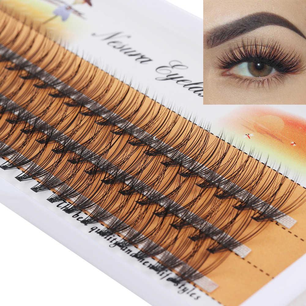 b6ab6704928 60 Clusters/Box False Eyelashes Flare Individual Eye Lashes Extension C D  Curl Knot Free Eyelashes