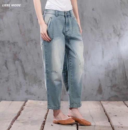 Boyfriend Jeans For Women 2017 Hot Sale Casual Mid Waist Loose Vintage Denim Harem Pants Plus Size Woman Cotton Trouser 4XL 5XL