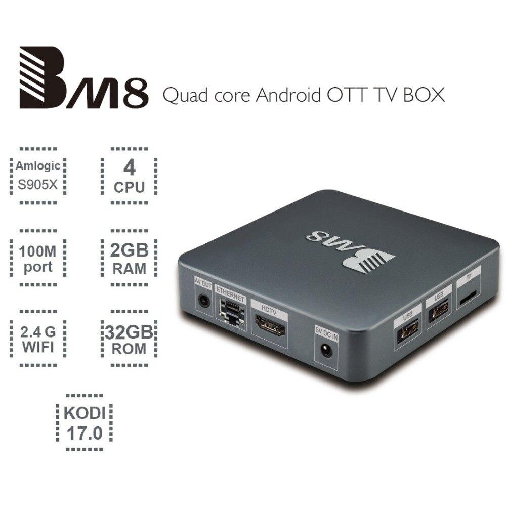 ФОТО BM8 Smart TV Box Amlogic S905X Quad Core Android 6.0 2G+32G Wifi HDMI 2.0A 4K*2K Streaming Kodi Media Player Set Top Box