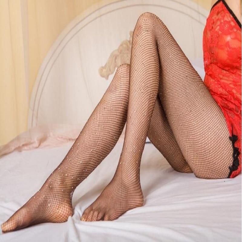 Women Fishnet Tights Net Crystal Rhinestone Hosiery Body Stocking Pantyhose